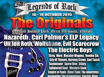 Legends Of Rock - The Originals 2015: Black Whiskey + Nazareth + Carl Palmer's ELP Legacy + Wolfsbane + Electric River + The Amorettes + Jupiter Falls + Blind Tiger + The Graveltones + Evil Scarecrow + Stray + Walkway + Splintered Soul + Spiral Dive + Uli Jon Roth + More + Voodoo Six + Serpentine + Soulweaver + Bad Touch + Massive Wagons + Darke Horse + Ali Clinton + Scream Serenity + The Burning Crows + Stop Stop + Black Whiskey + Piston + Black State Highway + 3Sixty + City Of Thieves + Metal Fatigue + Western Sand + Cairo Son + Empire of Fools picture