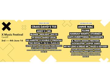 X Music Festival 2016: Craig David + Andy C + Blonde + Redlight + Shy FX + 99 Souls + DJ Barely Legal + Big Narstie + D Double E (Newham Generals) + Preditah + MC Royal-T + DJ Q + Flava D + Astroid Boys + Dellux + Digital Farm Animals + Elf Kid + Kideko + MK + Nvoy + Uniiqu3 + Rich Tea + Bump N Grind DJs + Harry Wooten + Van Pelt + Purrmotion DJs + Annie Mac + Flume + Hannah Wants + Stormzy + Eats Everything + Snakehips + B. Traits + Bodhi + DJ Friction + Jackmaster + Jasper James + My Nu Leng + MC Dread + Waze & Odyssey + Culture Shock + Dimension + Hazard + Prototypes + Rene LaVice + Sasasas + Organ Grinder + Woo & Comfort + Molly Collins + Scott Kerr + DJ Sinky + JV + Kooley + Stu Grady + Tribe + High For This + Caracal picture