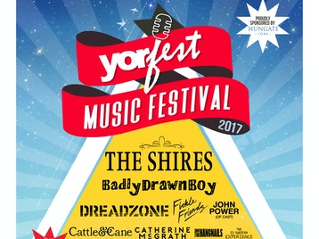 Yorfest: The Shires, Badly Drawn Boy, Dreadzone, Fickle Friends, John Power, Cattle & Cane, Catherine McGrath And The Hangnails, The Ed Sheeran Experience, Apollo Junction, 5K, The Tunnels, Adelphi, Hellbound Hearts, Aloe Veras, Feed Them To The Forest, Other Peoples Lives, Ginger Tom, Minster Consipracy, Ryan Swain, Melissa Jayne, Beth Bedford, Kell Chambers, Michael Mills, Kitty VR, Kitsch, Lily Eve, Sonder, Lewis Ross Robson Band, Kram, Serotones, Allyson June Smith, Cal Halbert, Chris Washington, Danny McLoughlin, Duncan Oakley, El Baldino, Gavin Webster, Jack Carroll, Karen Bayley, Mike Wilkinson, Sam Avery, Simon Lomas, Vince Atta picture