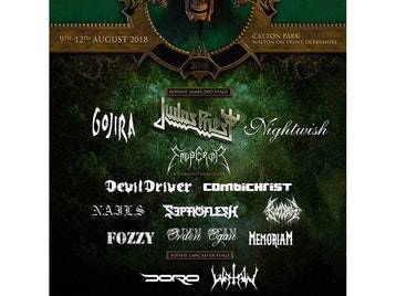 Bloodstock Open Air 2018: Judas Priest, Emperor, Kamelot, Suicidal Tendencies, Bloodbath, Wednesday 13, Memoriam, Onslaught, Feed The Rhino, Gojira (France), Cannibal Corpse, Alestorm, Combichrist, Venom Inc, Septic Flesh, Orden Ogan, Power Trip, Nightwish, At The Gates, Devildriver, Mr Big, Jasta, Fozzy, Amaranthe, Doro, Bleed From Within, Lovebites, Ingested, De Profundis, Reprisal, Godthrymm, Fahran, Mortishead, Orphaned Land, Exhorder, Voyager, A Forest Of Stars, Vola, Conjurer, Dead Label, Weight of the Tide, Forgotten Remains, Watain, Pallbearer, Acts Of Defiance, Mantar, Bio-Cancer, Underside (Nepal), Sangre, Alien Weapondry, King Leviathan, Uncured, Doomsday Outlaw picture