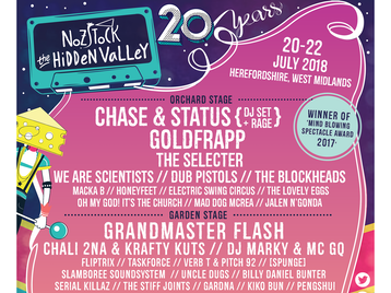 Nozstock The Hidden Valley 2018: Chase & Status (DJ Set), Goldfrapp, The Selecter, We Are Scientists, Dub Pistols, The Blockheads, Macka B, Honeyfeet, The Electric Swing Circus, The Lovely Eggs, Oh My God! It's The Church, Mad Dog Mcrea, Mr Tea and The Minions, Mad Apple Circus, Buffo's Wake, Jalen N'Gonda, Seas Of Mirth, Smiley & The Underclass, Samsara Collective, Catholic Action, Childcare, Lazy Day, Whipjacks, The Social Ignition, Grandmaster Flash, Chali 2na, Krafty Kuts, DJ Marky, MC GQ, Fliptrix, Task Force, Verb T, Pitch 92, Serial Killaz, [spunge], Slamboree Soundsystem, Uncle Dugs, Billy Daniel Bunter, Gardna, Kiko Bun, Pengshui, Feelgood Experiment, Verbal Highz, CW Jones, Collette The Dots, The Stiff Joints, Yama Warashi, Rachael Dadd, Alabaster DePlume, Chris Tofu, Natty Speaks, Almatic, Revrt, Old Baby Mackerel, Kerri Watt, Weirds, Yowl, Frauds, Heavy Lungs, Average Sex, SwingZing, Johnny Smyth, Josh Ace, Boatbar to Hamburg, Von Horn, True Stays, S.P.Y, Randall, Dillinja, Amoss, Ant TC1, Octo Pi, Scope, Black Sun Empire, Audio, Bladerunner, MC Carasel, Mollie Collins, Modify Perspective, Dex, Remidy MC, Trafic MC, Kelvin 373, Gardna, Pull Up Collective, Kamoh, Gorilla Tactics, Leo Sampson, Clifford Junior, Natty Campbell, Shumba Youth, 160 Feet Deep, Dancefloor Outlaws, Green King Cuts, CW Jones, Tailored Sound, Discorda, Ital Sounds, Subwork, Larsey, Delirium, Oberon, Stu Clark, Chris Draper, Kukushka, Sonny Wharton, Dom Kane, Dirty Secretz, Luke Stanger, Harvey Wallbanger, Kid Cut, House Meanz House, Paul Flynn, LeeRoy Fitz, Data Transmission, Ben Sterling, L.O.R.D.I.E, Archie B, Jobi, Billy Rath, Ron Mexico , Reginald D Hunter, Phil Kay, Tony Law, John Kearns, Jayde Adams picture