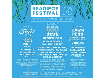 Readipop Festival 2018: Odyssey, Goldie Lookin' Chain, Too Many T's, Reading Elvis (DJ Set), Marcus Data, 808 State, Stereo MCs, Huey Morgan, Lack Of Afro, Haggis Horns, Tabi Gazele, Cecil, Dawn Penn, Muntchako, Kuenta i Tambu, Barry Hyde (The Futureheads), Ben Marwood, Reading All Steel Percussion Orchestra (RASPO), Too Many T's, The Allergies, Underground Mammals, Twin Sun, TZAI, Senser, Rowetta, Dutty Moonshine, John Power, The Small Strings, D'Voxx, Ash The Author, The Members, Don Letts, Donstrumental Dubz, Thunder On The Left, Deerful, Marisa And The Moths, Bright Shadows, Sabrina Findlay, Kayda May, Cannibal, The Final Clause Of Tacitus, Harroland, doops, The Keep Cats, Tara Dean, Margaret Perryman, Abigail Maxwell, The Amazing Tiger Band, IYA Rebels, Childish, Ed Howard, Beatroots picture