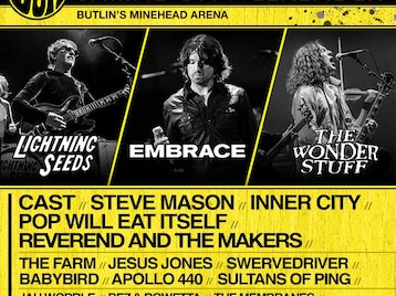 Shiiine On Weekender: Embrace, Lightning Seeds, The Wonder Stuff, Cast, Reverend And The Makers, Jesus Jones, Swervedriver, Inner City, Pop Will Eat Itself, Steve Mason, Edgar Jones, Membranes, The Farm, Apollo 440, Babybird, Rowetta, Jah Wobble, The Sultans of Ping FC picture