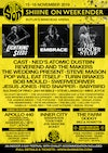 Flyer thumbnail for Shiiine On Weekender: Embrace, Lightning Seeds, The Wonder Stuff, Cast, Ned's Atomic Dustbin, Reverend And The Makers, Jesus Jones, Swervedriver, Inner City, Pop Will Eat Itself & more